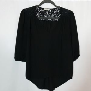 Everly Sheer Black Shirt Top Size Small